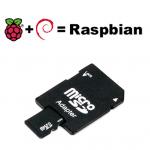 Carte Micro SD 4Go (adaptateur inclus) avec système Raspbian Jessie