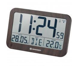 Horloge murale avec grand écran LCD et affichage de température couleur bois - Bresser
