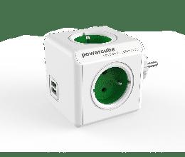 Bloc multiprise PowerCube original avec ports USB couleur vert - Allocacoc