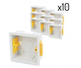Lot de dix boîtes d'encastrement carrées 35 mm blanches - Appleby