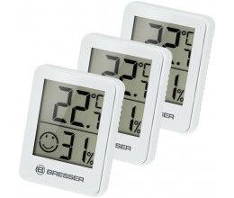 Lot de 3 Thermomètre et Hygromètre avec affichage LCD blanc - Bresser
