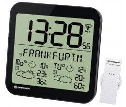 Horloge noire avec grand écran LCD et prévisions météos sur 4 jours - Bresser