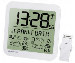 Horloge blanche avec grand écran LCD et prévisions météos sur 4 jours - Bresser