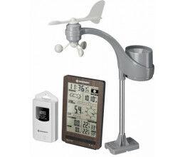Station météo finition bois avec pluviomètre, anémomètre et tendance météo - Bresser