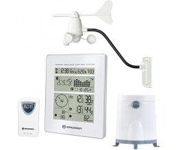 Station météo radio blanche avec pluviomètre, anémomètre et météo - Bresser