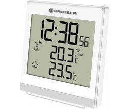 Thermomètre intérieur et extérieur avec heure radio pilotée blanc - Bresser