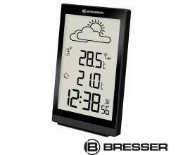 Station météo noire avec thermomètre et grand écran LCD - Bresser