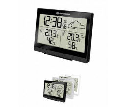 Station météo noire avec thermomètre, réveil et très grand écran LCD - Bresser