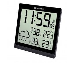 Horloge murale noire avec grand écran LCD et prévisions météos 24h - Bresser