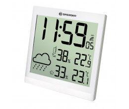Horloge murale blanche avec grand écran LCD et prévisions météos 24h - Bresser