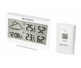 Station météo radio pilotée blanche TemeoTrend avec thermomètre, hygromètre et grand écran LCD - Bresser