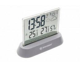 Station météo grise avec écran transparent, thermomètre et hygromètre - Bresser