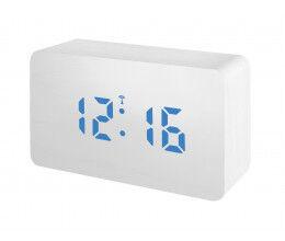 Réveil digital radio piloté aspect bois blanc et écran LED Bleu - Bresser