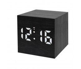 Réveil digital radio piloté format carré finition bois noir et écran LED blanc - Bresser
