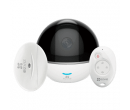 Système d'alarme avec caméra motorisée 1080p, détecteur magnétique et télécommande - Ezviz