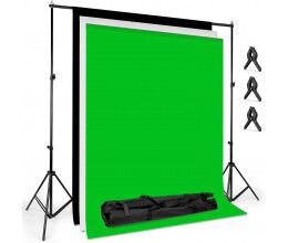 Toile de fond vert 1,8 x 2,8m avec pinces de fixation et portique
