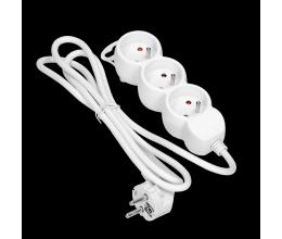 Rallonge multiprise avec 3 prises et mise à la terre couleur blanche - Orno