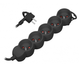 Rallonge multiprise avec 5 prises et mise à la terre couleur noire - Orno