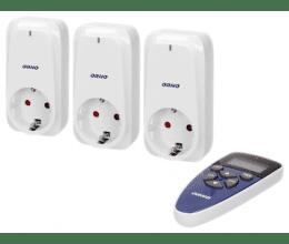 Lot de trois prises avec télécommande programmable - Orno