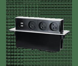 Bloc Prises escamotable avec 3 prises 230V + 2 prises USB Noir - Orno