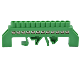 Bornier de connexion sur rail DIN 12 broches couleur vert - Orno