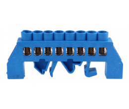 Bornier de connexion sur rail DIN 8 broches couleur bleu - Orno