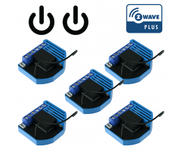Pack de 5 modules 2 relais Z-Wave Plus encastrable - QUBINO