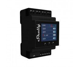 Module Rail DIN 4 canaux WiFi avec mesure de consommation et écran - Shelly