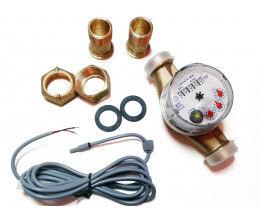 Compteur d'eau chaude avec sortie impulsion (1 imp. / 1 litre) DN15